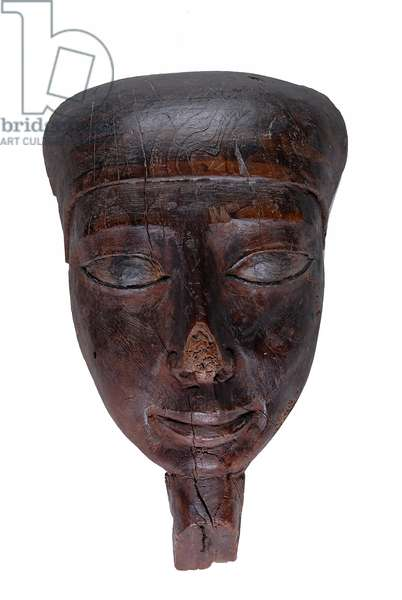 Face mask from coffin, 330-323 BC (wood with traces of paint)