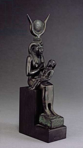 The goddess Isis suckling the infant Horus, Late Period (bronze)