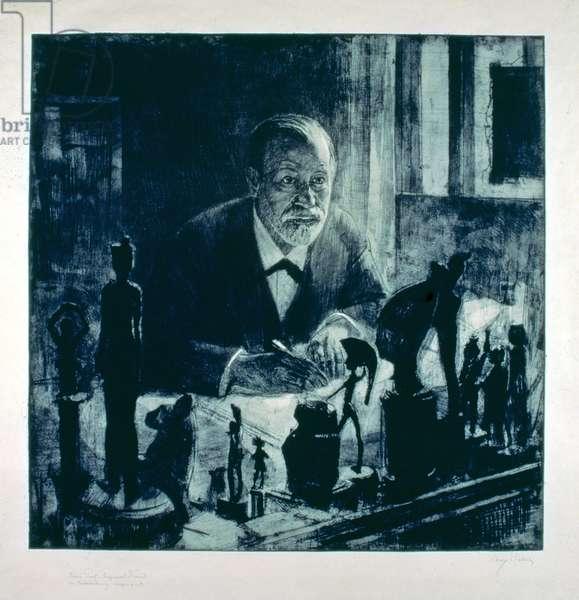 Sigmund Freud (1856-1939) at his Desk, 1914 (etching)