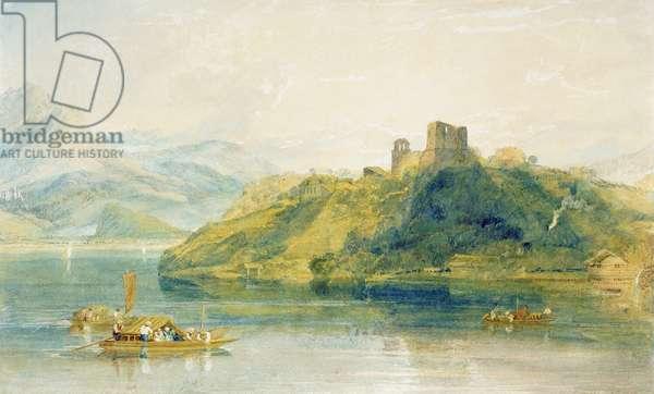 Chateau de Rinkenberg, on the Lac de Brienz, Switzerland, 1809 (w/c on paper)