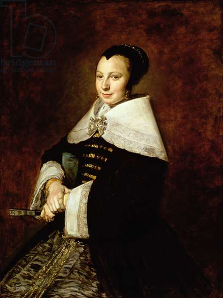 Portrait of a Seated Woman Holding a Fan, c.1650 (oil on canvas) (see 335374)