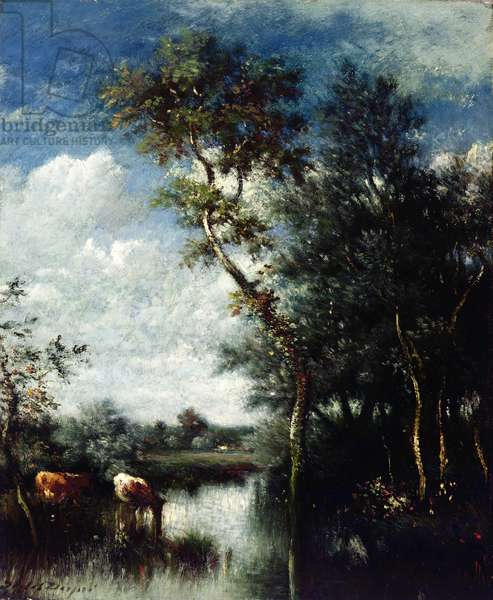 Landscape with Cattle Drinking (oil on canvas)