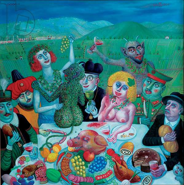 Dionysos in Eger, 2000 (oil on canvas)