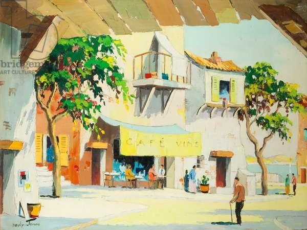 Café Vins, South of France (oil on canvas)