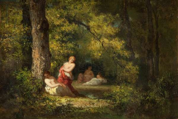 Four Nymphs in a Wood (oil on canvas)
