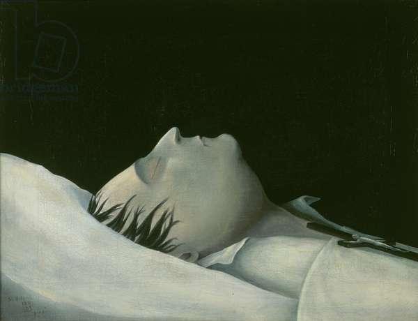 Napoleon on his Deathbed on St Helena, 1821 (oil on canvas)