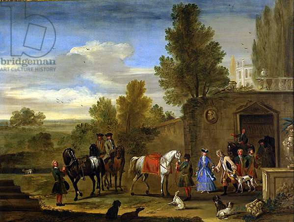 Equestrian group outside the walls of a castle (oil on canvas)