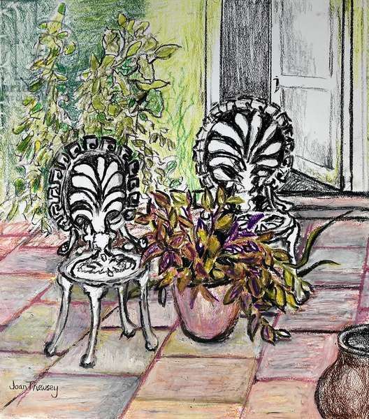 Chairs on the Terrace, with pots (wax pastel)