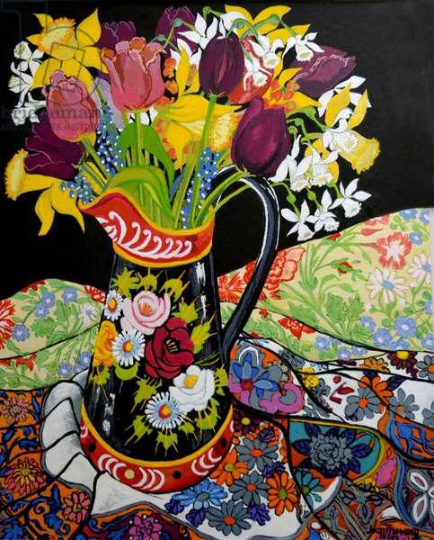 Canal Boat Jug, Daffodils and Tulips,2005 (gouache)