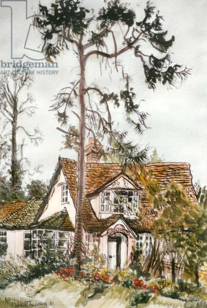 Cottage with Fir Tree, (watercolour)