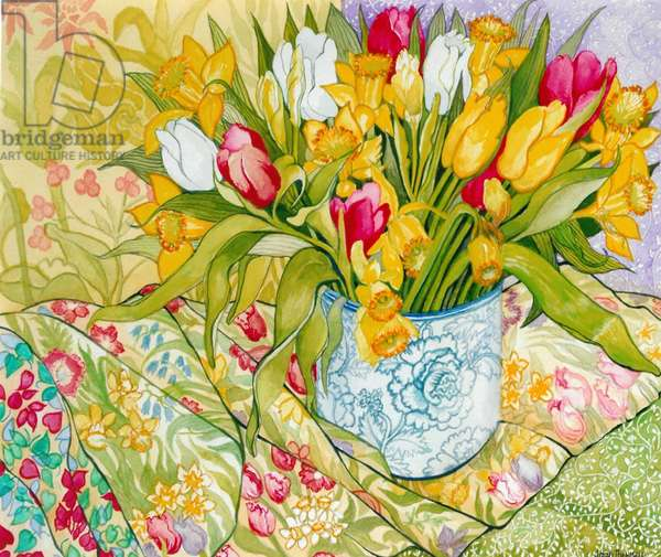 Tulips and Daffodils with Patterned Textiles, 2000, (water colour)