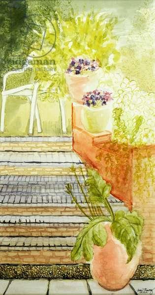 Cynthia's Garden;Steps and Pots,2009,(watercolour)