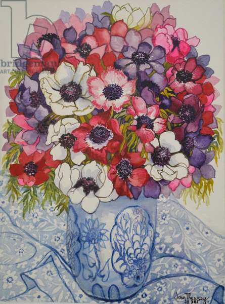 Anemones in a Blue and White Pot, with Blue and White Textile, 2000,(watercolour)