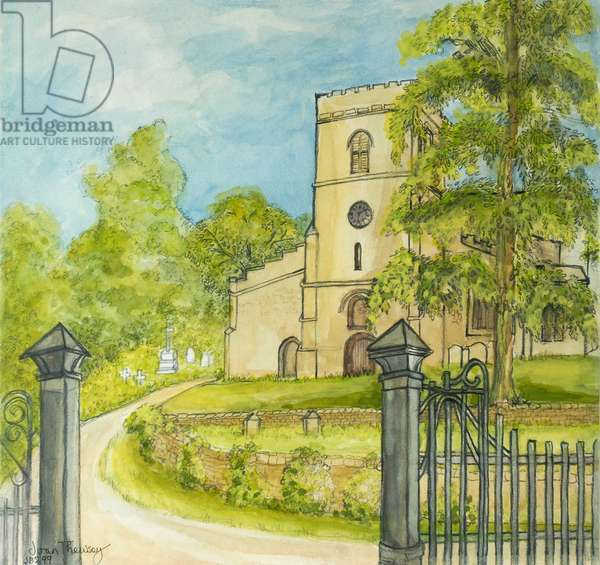 Moulton Church, 2010, pencil with water colour