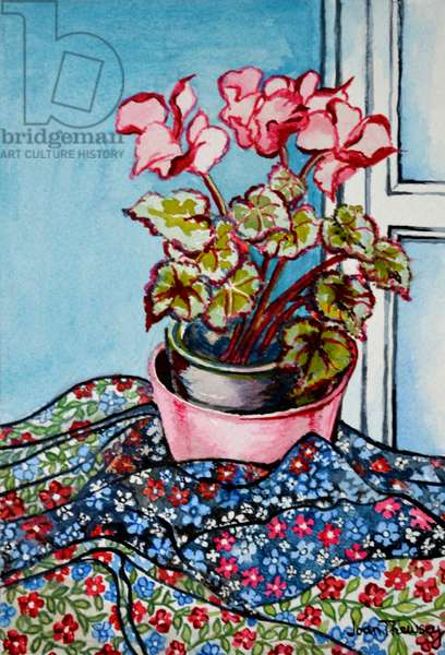 Cyclamen with Patterned Fabrics,1999 (watercolour)