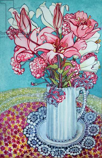 Pink Lilies in a Jug, with Lace, 2000,(watercolour)