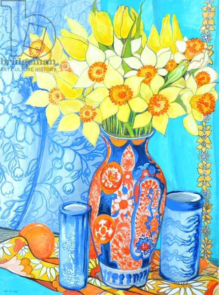 Daffodils and Tulips in an Imani Vase; oranges and textiles