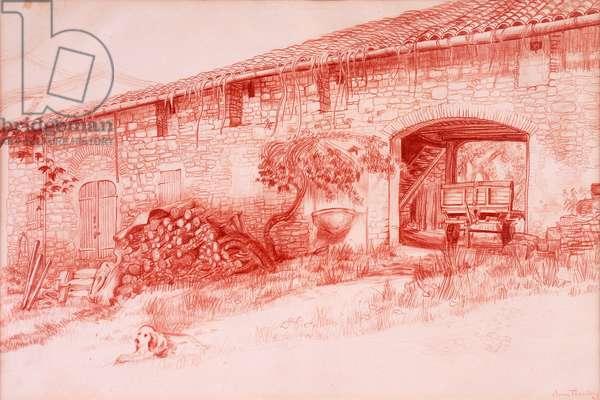Farmhouse, Provence, 2000, Terra cotta conte` pencil