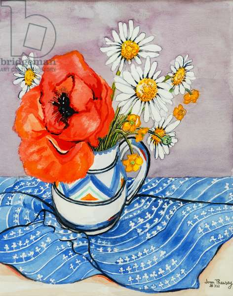 Red Oriental Poppy and Marguerites in a Honiton Jug, 2005, (water colour)