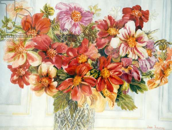 Dahlias, (watercolour)