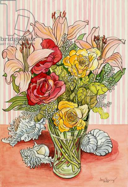 Roses, Lillies and Shells, 2008, (pencil with watercolour washes)