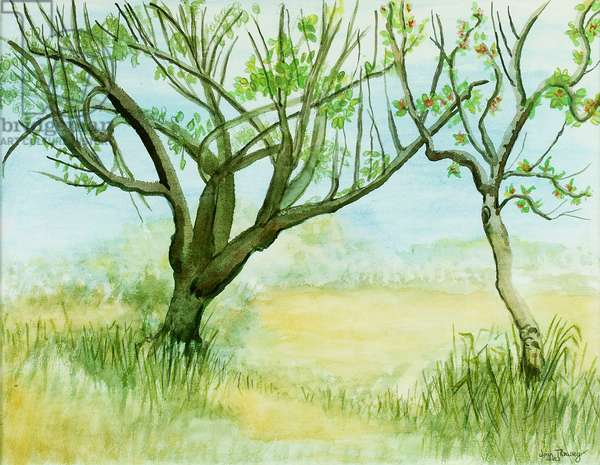 Early Spring Landscape,with two trees,2009,(watercolour)