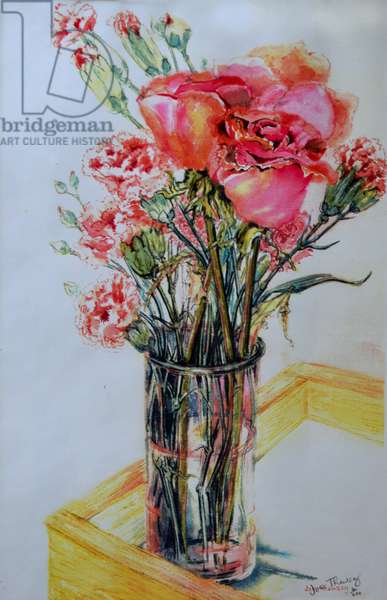 Pink Roses with Cottage Pinks,2010, (watercolour)