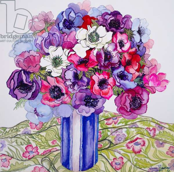 Anemones in a Striped Pot, 2015, watercolour on hand made paper