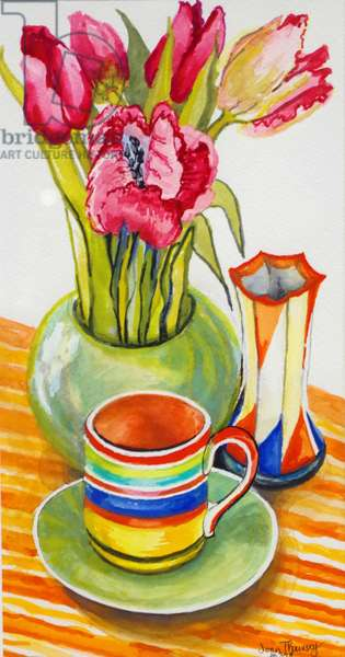 Striped Cup with Saucer, Vase and Tulips, (watercolour)