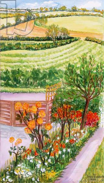 The Cottage Garden and view beyond,2000.(watercolour)