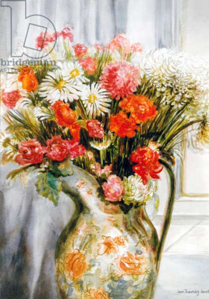 Mixed Flowers with Chrysanthemums in a Jug, (watercolour)