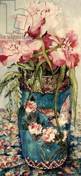 Peonies in a Cloisonne Vase, (watercolour)