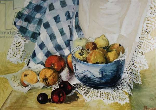Still life with a Blue Bowl, Apples, Pears, Textiles and Lace, (gouache)