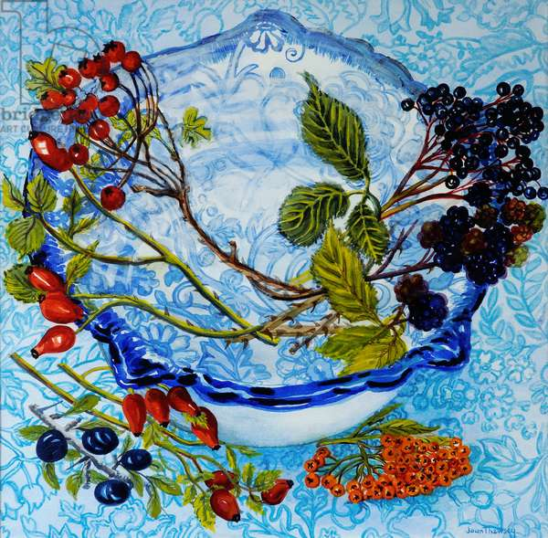 Blue Antique Bowl with Berries, 2010,watercolour