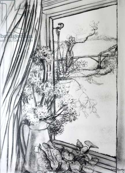 View through the Cottage Window,1970 (charcoal)