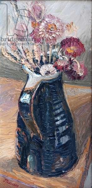 Dried Flowers in a Bernard Leach Jug  2000  (oil)