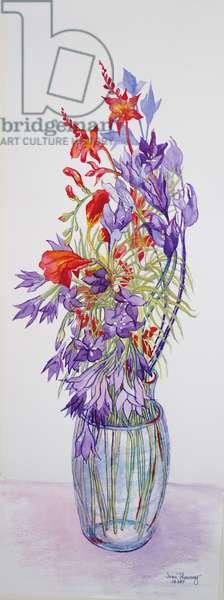 Agapantha  companulatus and Crocosmia,2015, watercolour on handmade paper
