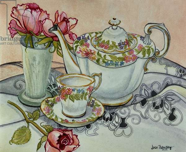 Teatime with Roses and a cutwork cloth, (watercolour)