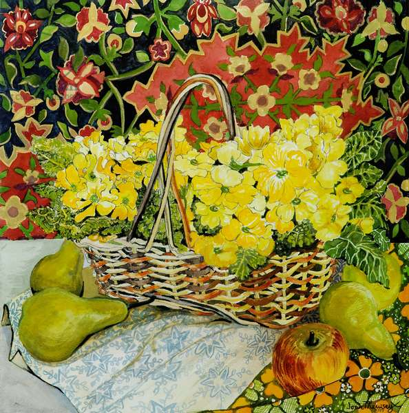Yellow Primroses in a Basket,with Fruit and Textiles, 2010.watercolour