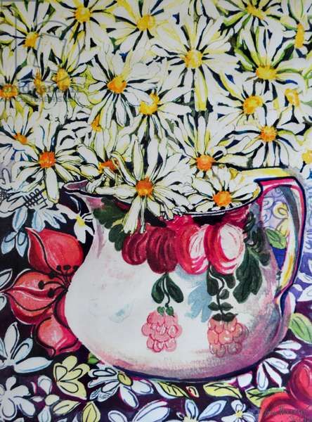 Marguerites in a 30s Jug,2001, (watercolour)