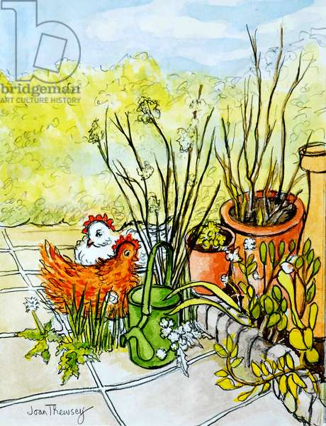 Hens and Pots, Lucy Redman Open Garden, 2000, (pencil with watercolour wash)