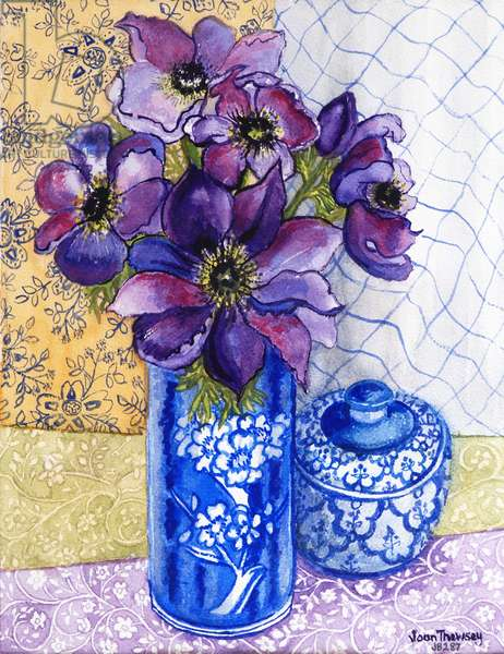 Anemones in a Blue and White Vase with Pot and Textiles 2012 (w/c on paper)