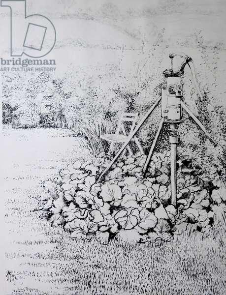 The Garden Pump, 1973,(charcoal)