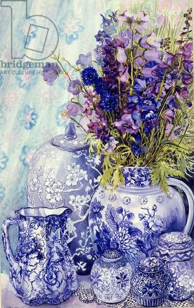 Delphiniums with Antique Blue Pots, 2000, (water colour)