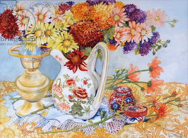 Chrysanthemums in a Chinese Jug, 2012,w/c on paper