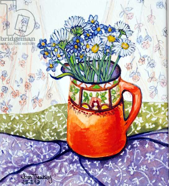 Daisies and Forget-Me-Nots Orange Jug and Patterned Fabric, (water colour) 2015