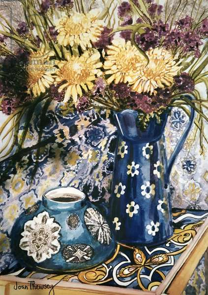 Blue against Blue - Chrysanthemums and Blue Enamel Jug on an Italian Tile, (gouache)