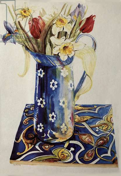Tulips, Iris and Narcissus in a Blue Enamel Jug with an Italian Tile, (watercolour)