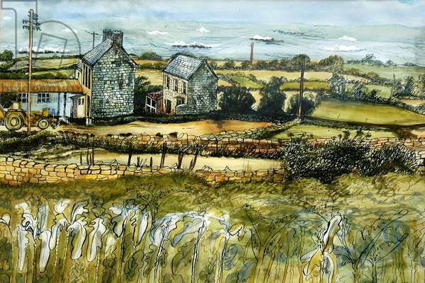 Farm and Sea, L'Etacq, 2012,  (watercolour)