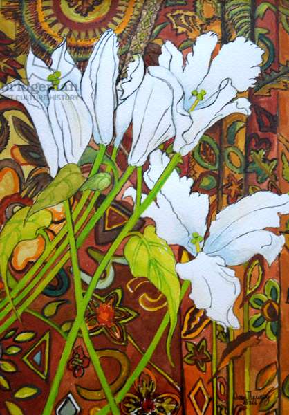 Lilies against a Patterned Fabric, (watercolour)